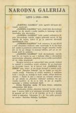 Narodna galerija<br />Leto I. 1918-1919.
