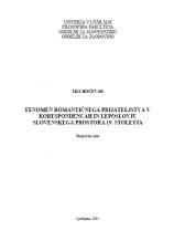 Fenomen romantičnega prijateljstva v korespondencah in leposlovju slovenskega prostora 19. stoletja