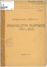 Prebivalstvo Slovenije 1931 in 1941<br />demografska statistika
