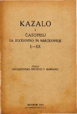 Kazalo k Časopisu za zgodovino in narodopisje, 1926<br />I – XX