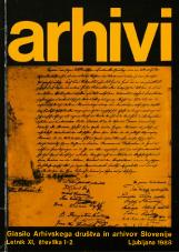 Arhivi, 1988, št. 1-2<br />Glasilo Arhivskega društva in arhivov Slovenije