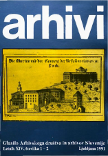 Arhivi, 1991, št. 1-2<br />Glasilo Arhivskega društva in arhivov Slovenije