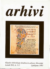 Arhivi, 1993, št. 1-2<br />Glasilo Arhivskega društva in arhivov Slovenije<br />Arhivi, 1993, no. 1-2<br />The Gazette of the Archival Association and Archives of Slovenia