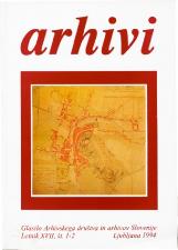 Arhivi, 1994, št. 1-2<br />Glasilo Arhivskega društva in arhivov Slovenije