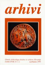 Arhivi, 1995, št. 1-2<br />Glasilo Arhivskega društva in arhivov Slovenije